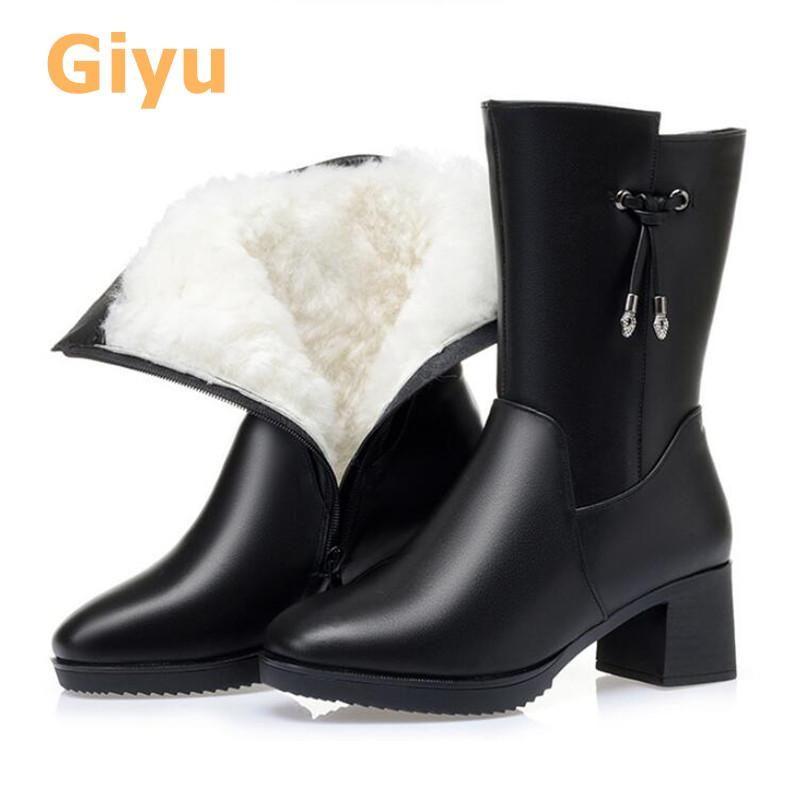 marca de moda couro genuíno salto alto botas femininas lã quente botas Mid-Calf Inverno sapatos fluff Plus Size Preto 2020 nova 35-42