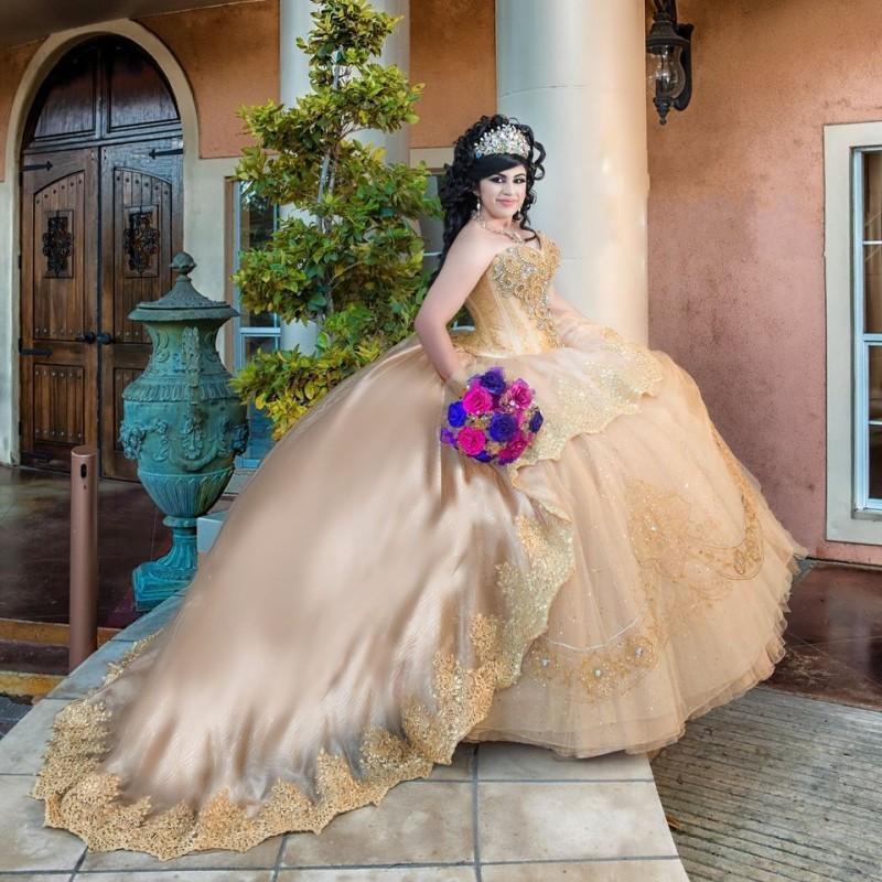 Champagner Strasssteine Perlen Spitze Prinzessin Quinceanera Kleid Ballkleider Sweet 16 Party Kleid Vestidos de Novia