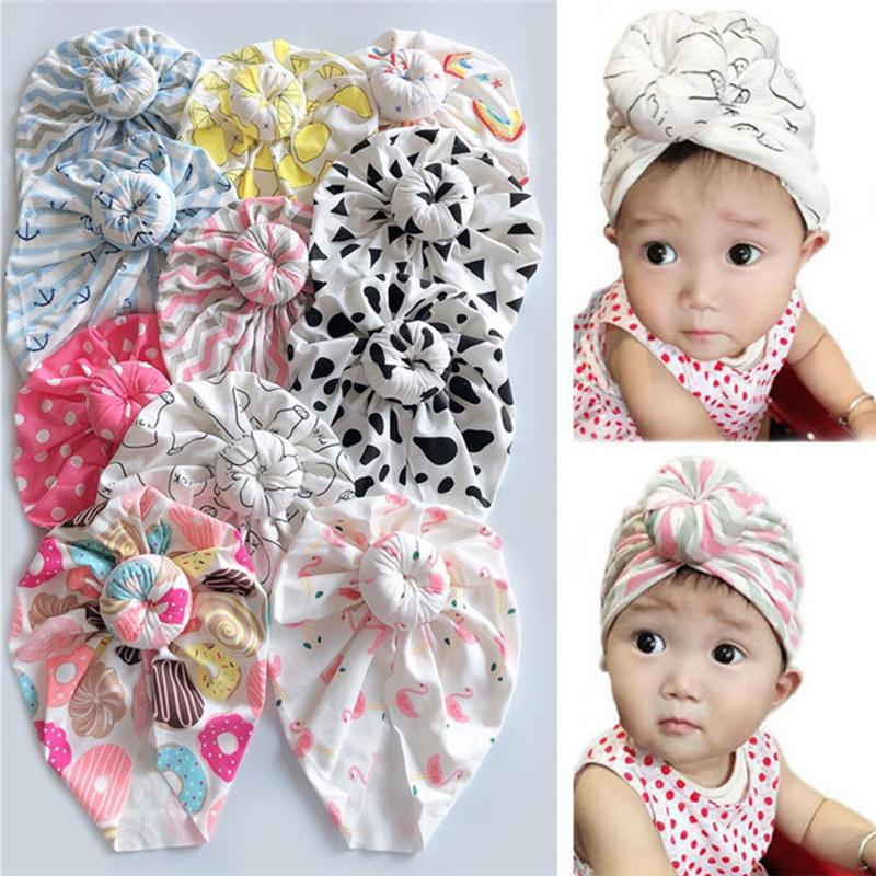 Baby Infant Turban Hats Donut Flamingo Print Headband Мультфильм Хлопок Bowknot Beanie Newborn Turban Hat Child Черепные Шапочки 2021