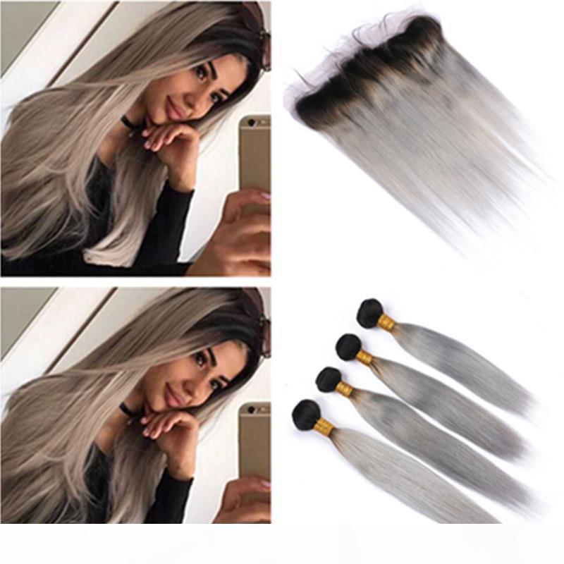 Ombre silber graue jungfrau Haarspitze