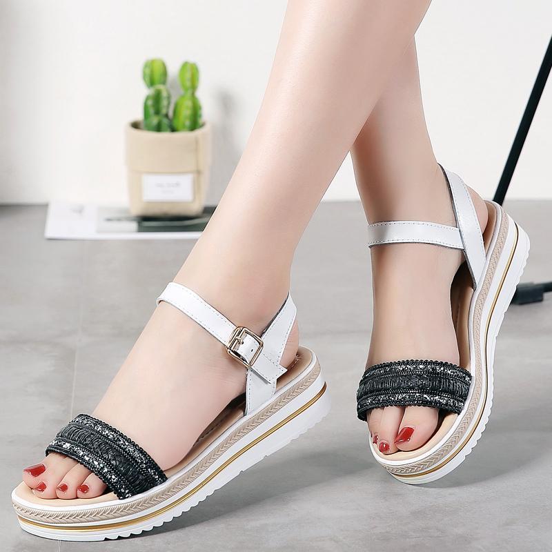 Okkdey Split Couro Sapatos de Verão Mulher Mão Tecidos Mulheres Sandálias Plataforma Sandálias Mulheres Wedge Praia Flip Flops Senhoras