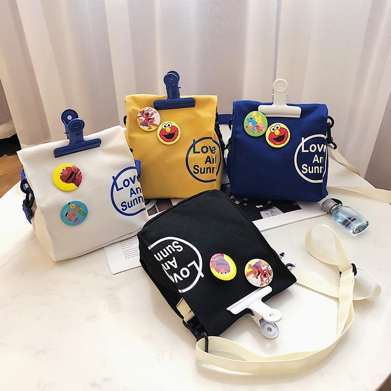 2020 New Women Shoulder Canvas Sport Flap Cartoon Print Fashion Handbag Crossbody Cute Girl Phone Purses Messenger Bag Q1221