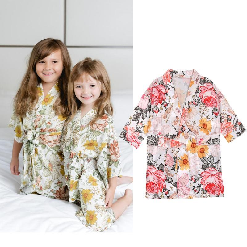 Automne Baignade Peignoir Toddler Bébé Filles Enfants Enfants À manches longues Léopard Robes à imprimé Floral Sleepwear Nightwear Kimono