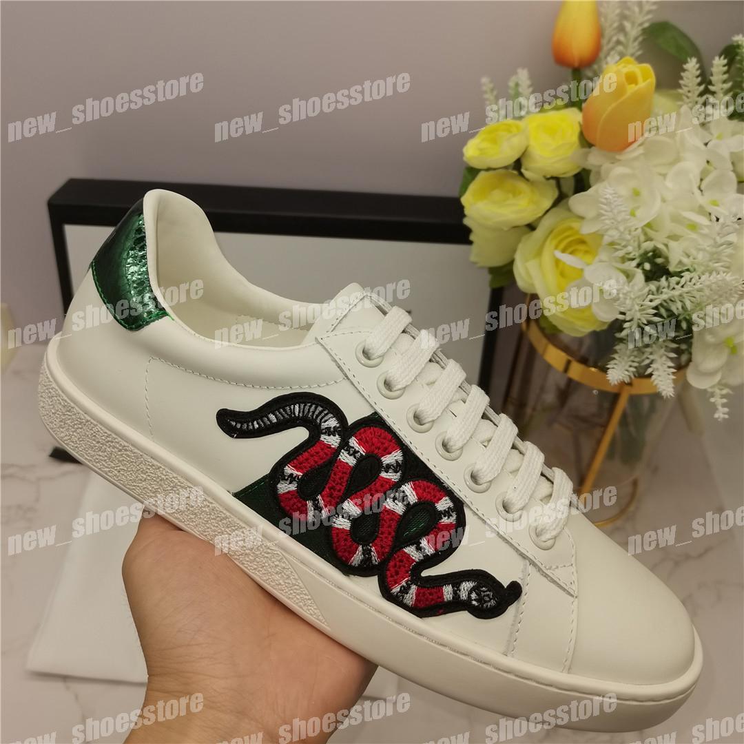 Mulher Mens Casual Sapatos Sneakers Couro Ace Bee Snake Bordado Plataforma Stripes Treinamento Caminhada Sneaker Chaussures Qualidade superior EUR 35-45