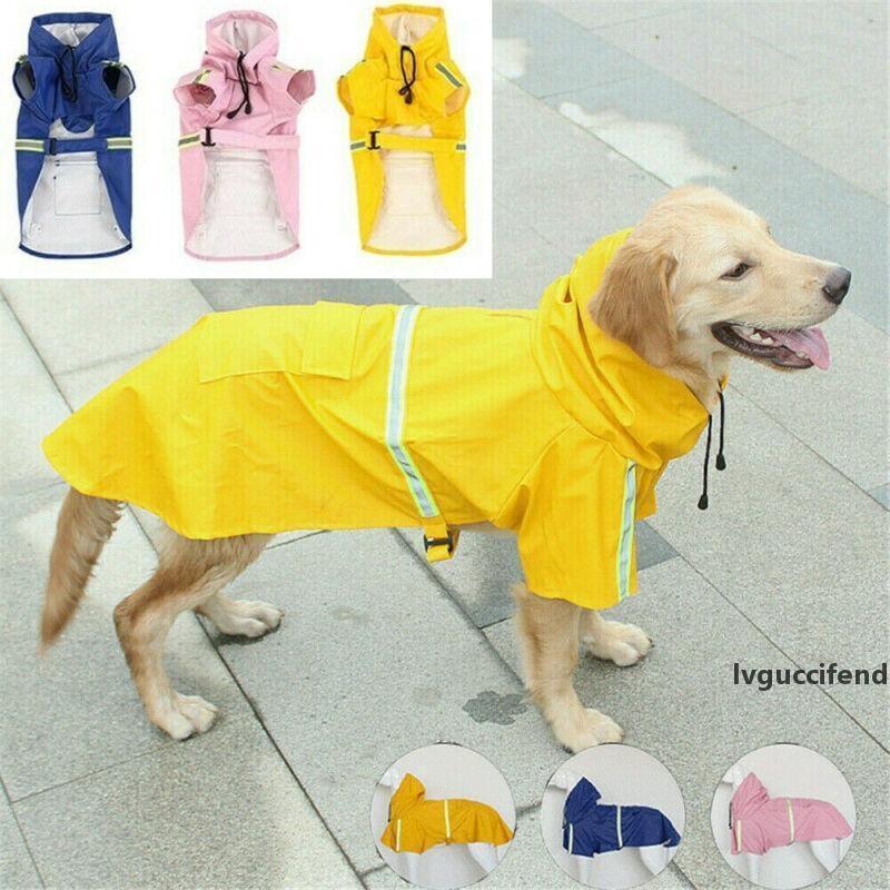 Cão de estimação capa de chuva impermeável jaqueta com capuz moda grande cão capoza de chuva capa de chuva reflexivo para cães impermeável pet roupas t200328