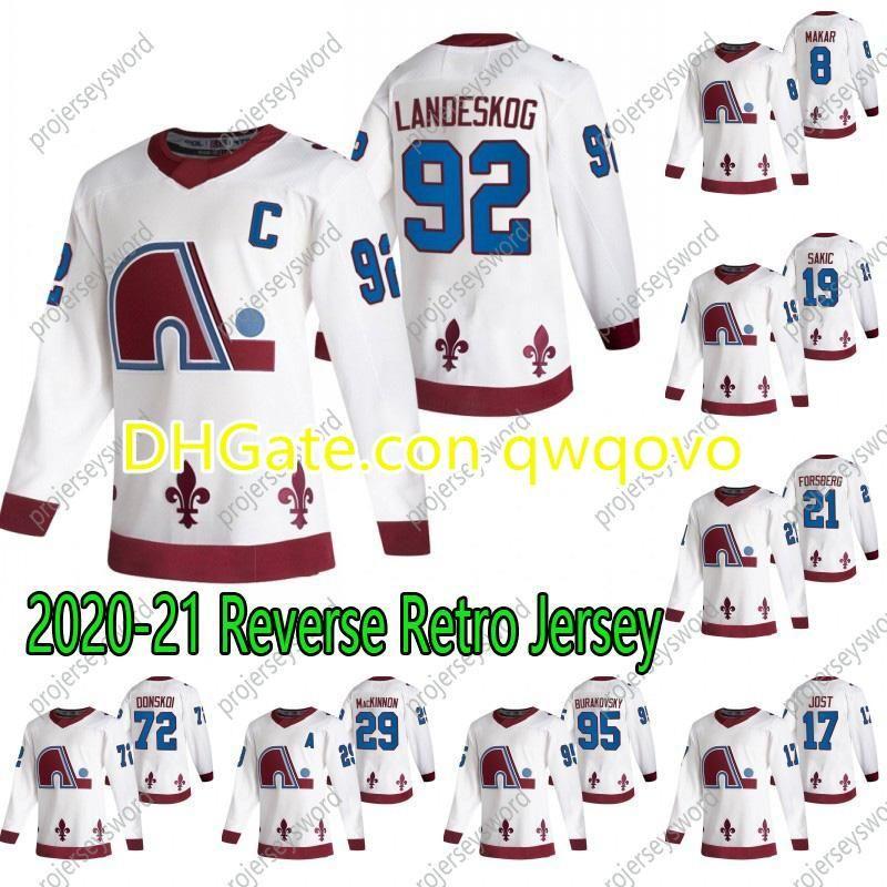 콜로라도Avalanche Nathan Mackinnon 2020-21 Reverse Retro Hockey Jersey Cale Makar Tyson Jost Gabriel Landeskog Mikko Rantanen Ian Cole