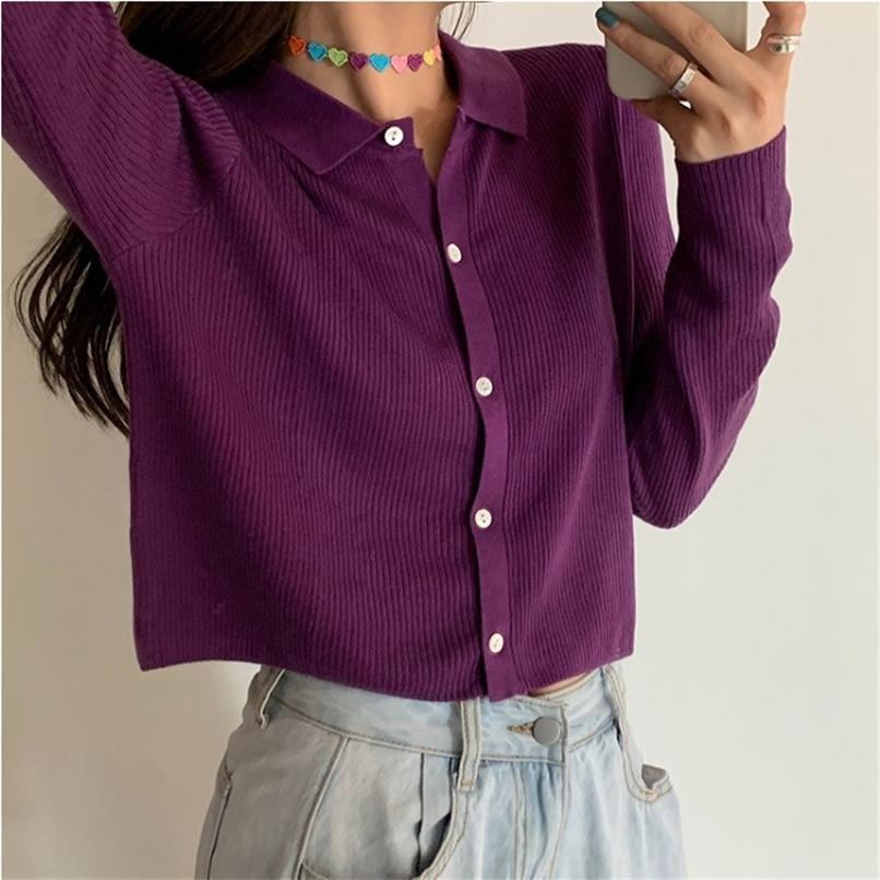 Поло воротник кардиган куртка женская трикотажная пружина новых корейских трикотажных кардиганов урожай вязаный мягкий свитер для женщин 201221