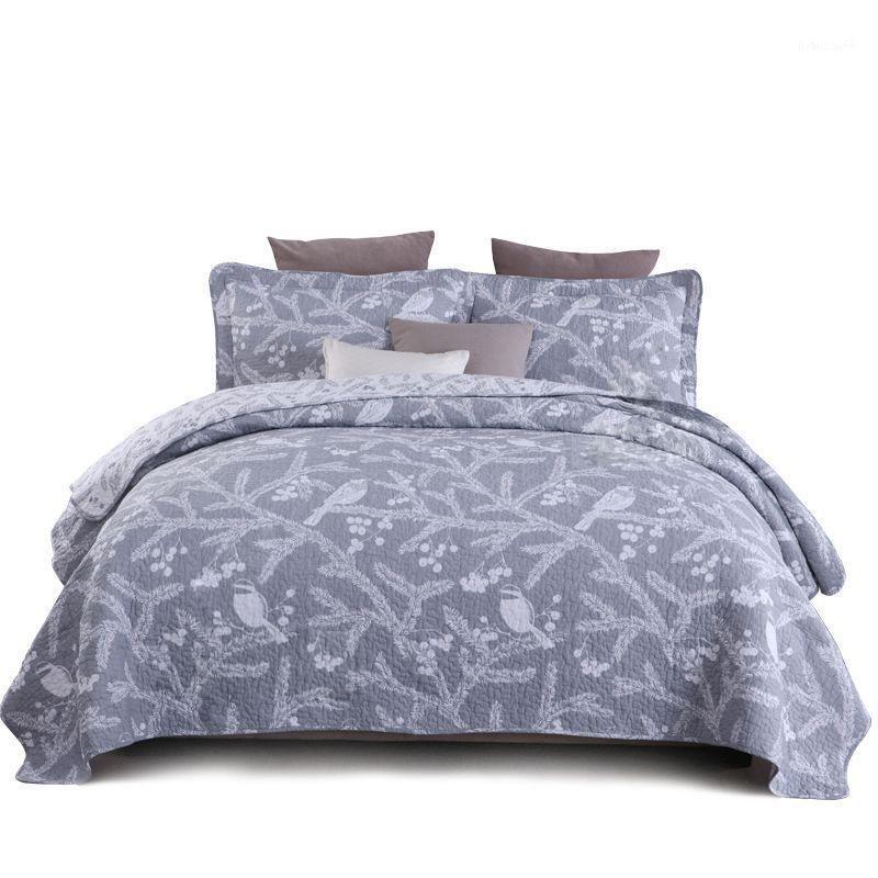 Plain BettPreads Quilt Set 3PC Baumwollquilts für Doppelbettabdeckung Kissenbezug Queen Größe Quilted Bettwäsche Gedruckte Coverlets Summed1