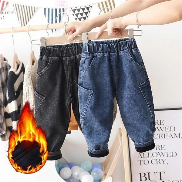 Boys Plus Fleece Jeans 2020 Winter New Children Plus Fleece Thick Cowboy Trousers Baby Korean Casual Warm Harem Pants Kids Jeans J1205