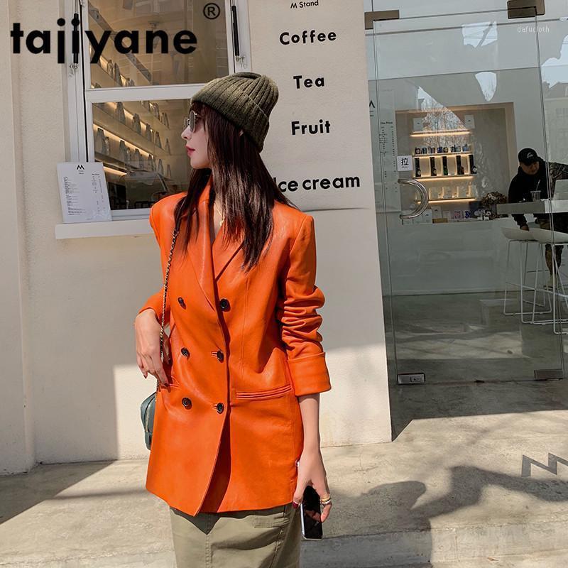 Manteau de peau de mouton 100% naturel Femelle Streetwear Spring Printemps Véritable Coréen Coréen Mesdames Veste en cuir véritable Femmes 1880371