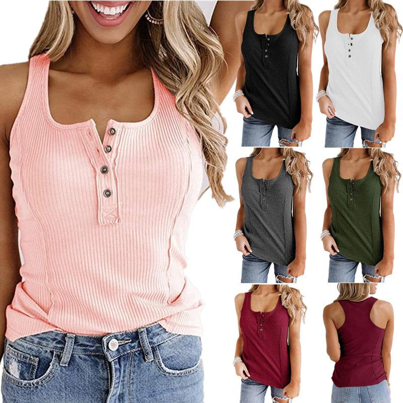 Venda quente 2021 novo t-shirt mulheres sexy magro cor sólida botão moda botão sem mangas colete verão tricô colete camisola algodão tanque de algodão