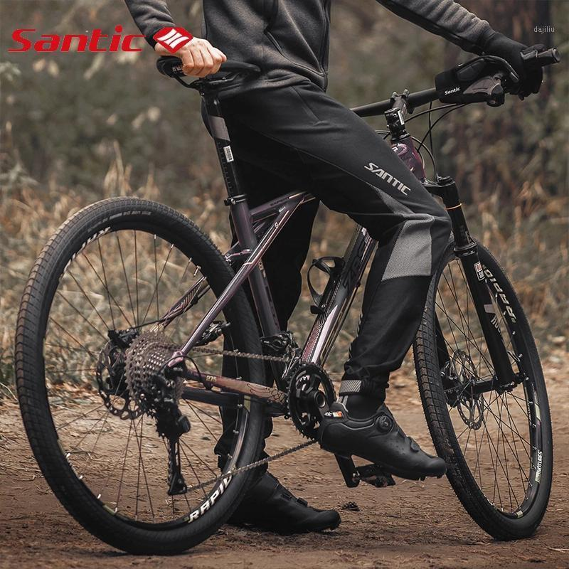 Santy Men Зимние велосипедные штаны MTB Отражающие осенние длинные велосипедные брюки флис теплые дна нет подушки Ciclismo брюки1
