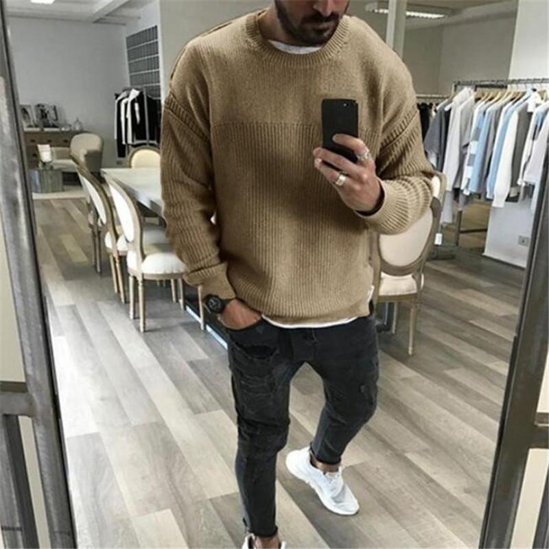 Hommes Pulls 2021 Automne Hiver Fashion Casual Slim Fit Coton Coton Tricoté Pulls en laine Pullovers Vêtements