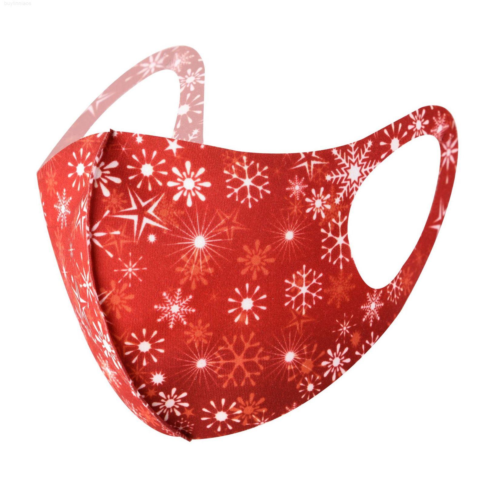 Chapéu santa christmas impresso festa claus máscaras de doces moda gelado máscaras de seda crianças máscara rosto reutilizável