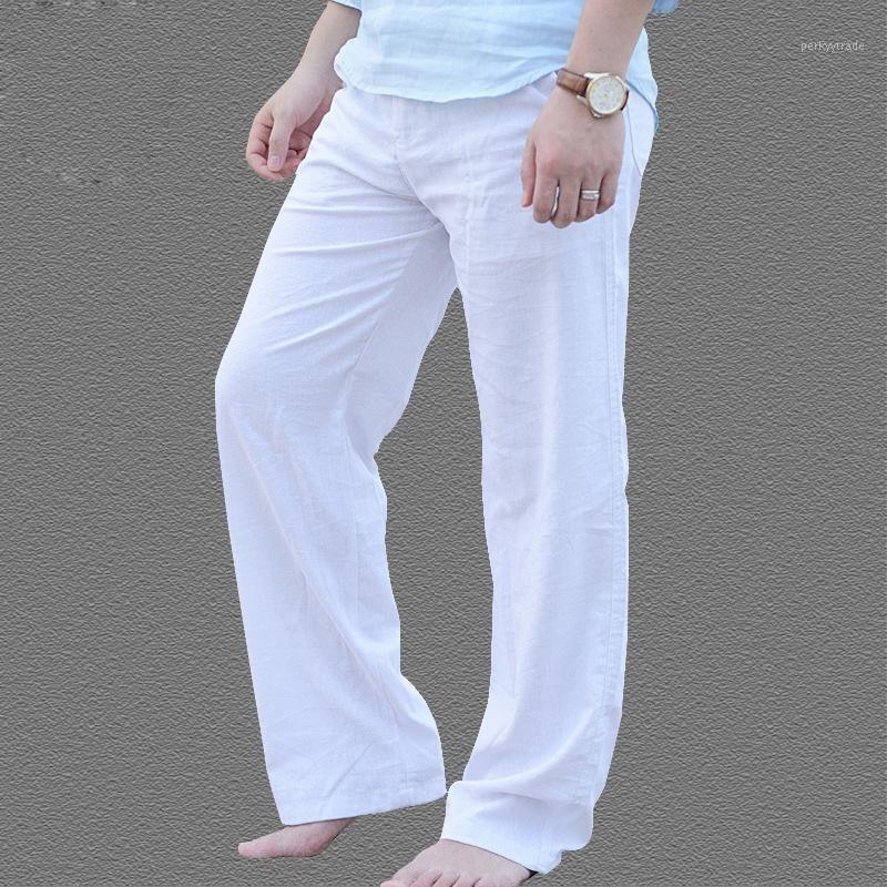 Мужские летние повседневные брюки натуральные хлопковые льняные брюки белые льняные эластичные талии прямые штаны1