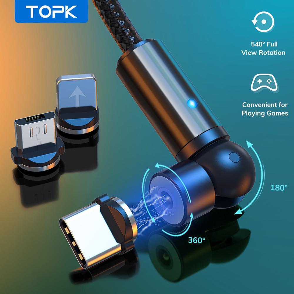 TOPK 540 회전 자기 케이블 마이크로 USB 타입 C 케이블 마그네틱 충전 충전기 케이블 11 PRO XS MAX SAMSUNG Xiaomi
