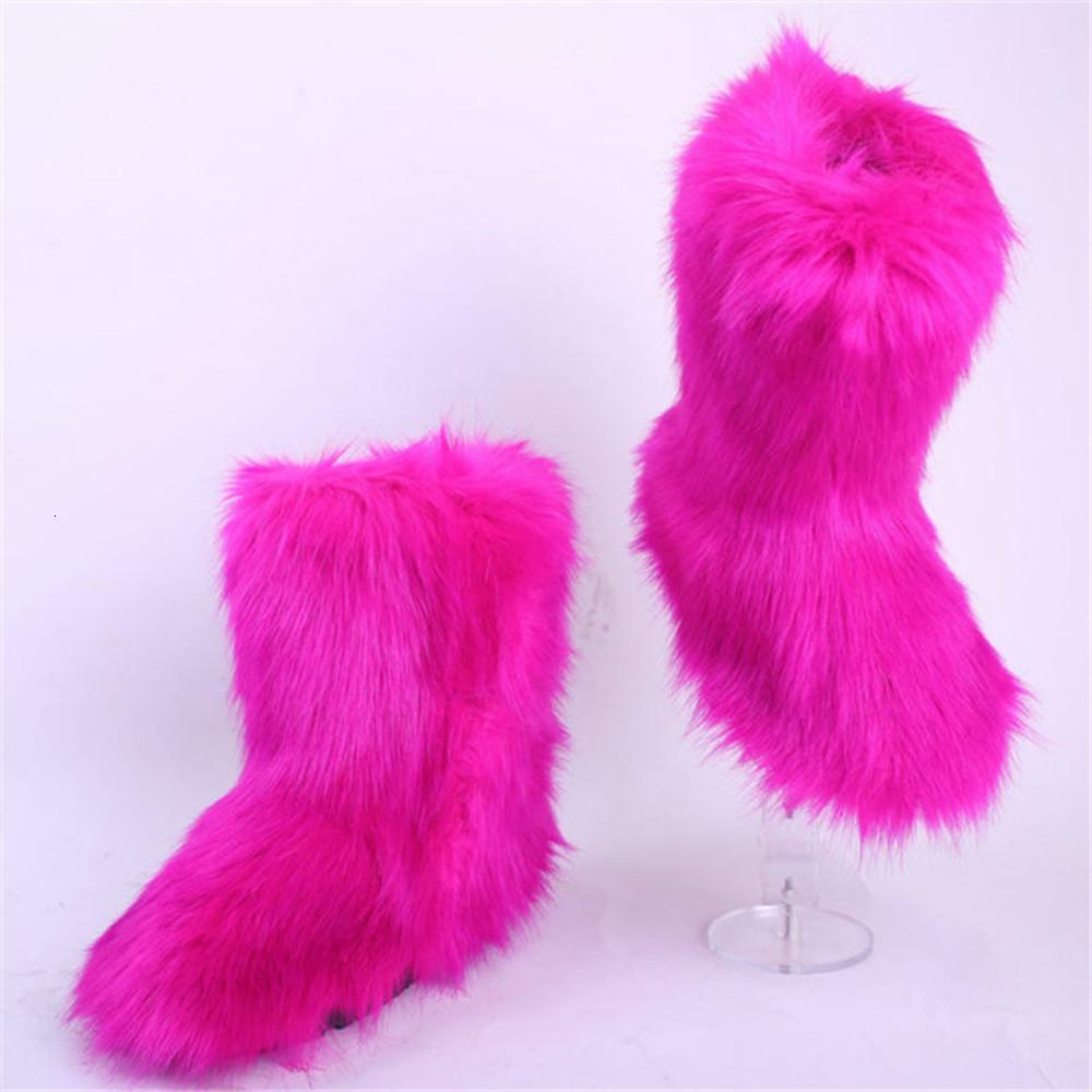 2020 الشتاء المرأة فو فوكس في الهواء الطلق شريط رقيق فروي عالية الثلوج أحذية امرأة الفراء الإناث حذاء المنزل الدافئ 34-44