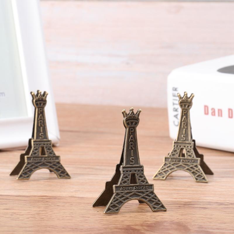6 stücke Kreative Eiffelturm-geformte Memo-Clips-Metall-Visitenkartenhalter-Desktop-Verzierungen Karteninhaber