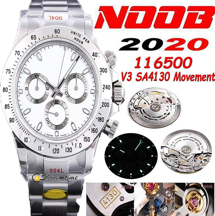 N V3 904L Стальной корпус SA4130 Автоматический хронограф Мужские часы Watch Functional Той же Genuiine 116500 керамические белые часы белого цвета Sapphire