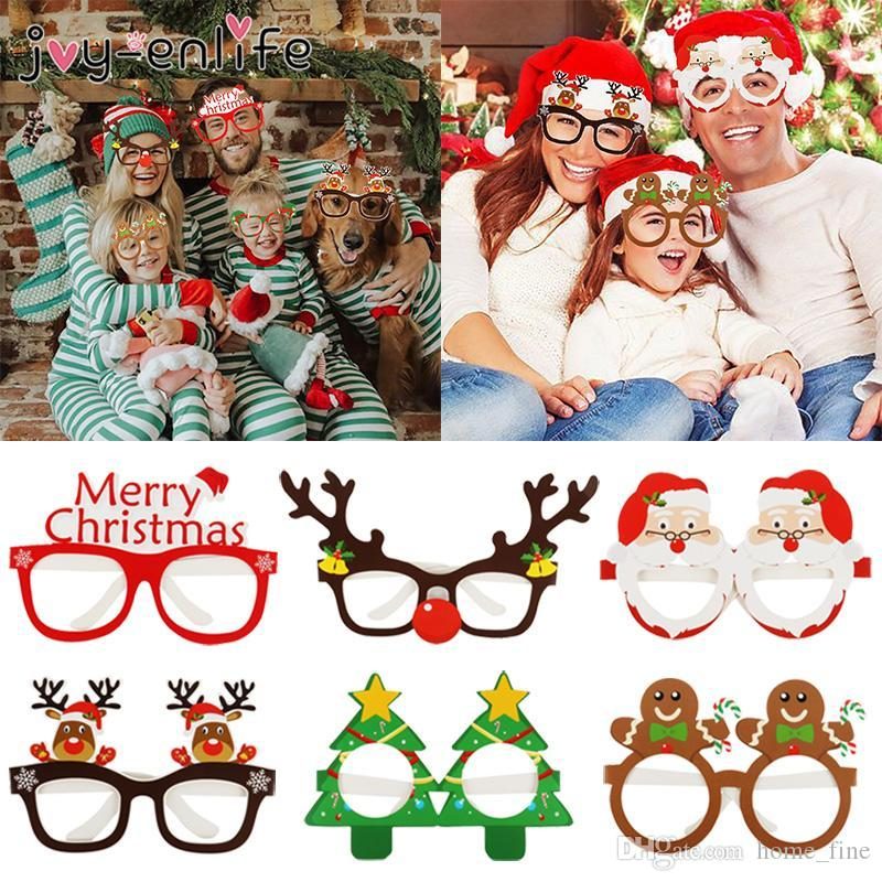 2020 Yeni 9 adet Noel Gözlük Noel Baba Kardan Adam Kar Tanesi Ağacı Elk Kağıt Gözlük Parti Fotoğraf Sahne 2020 Noel Dekorasyon Ev için