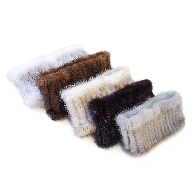 Женщины мода меховой шарф норки вязать шарфы теплый меховой повязку 201104