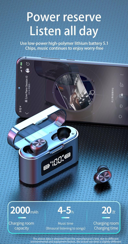 마이크와 무선 블루투스 이어폰 스포츠 방수 터치 컨트롤 음악 이어 버드 전화 무선 헤드폰 헤드셋