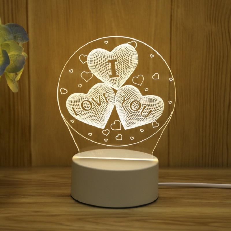 3D USB Acrylic Night Light LED Table Desk Bedroom Decor Gift Warm White Lamp best Birthday Christmas Valentine Gifts Toys