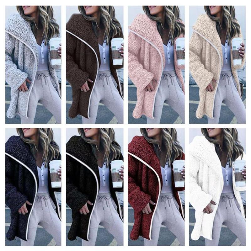 Женщины Шерпа Длинные пальто плюшевые флисовые куртки или воротник с русским воротником, кардиганские пальто зимние теплые куртки толстовки негабаритные толстовки