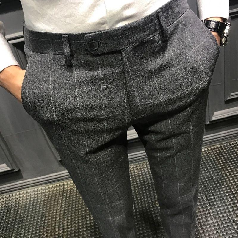 Autumn Plaid casual trousers men's slim fit Korean men's Leggings British trousers men's trousers trendy suit pants