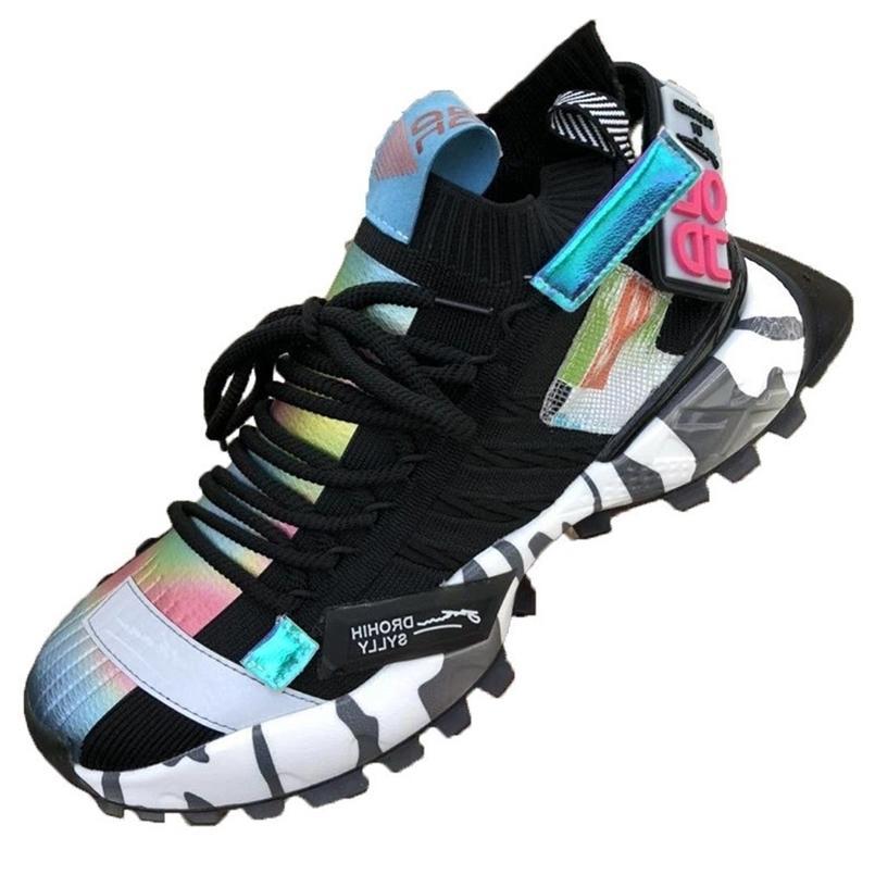 Rasmeup Personalizado Colorido Homens Sneakers Verão Moda Malha Respirável Homens Sapatos Chunky Sapatos Estilo de Rua Calçado Male 201217