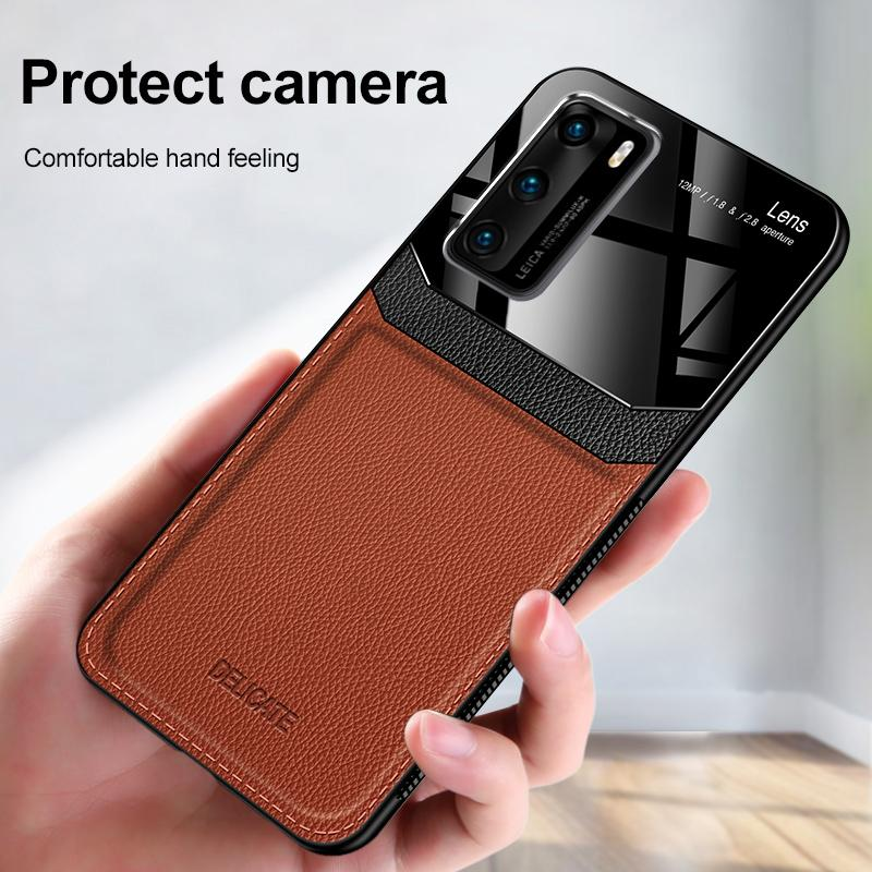Custodia antiurto per Huawei P40 Pro P20 P30 Lite PU in pelle PU Phone Silicone Back Cover per Huawei P10 Plus Cases