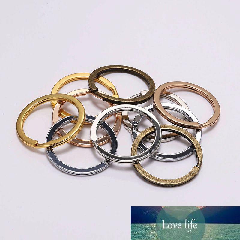 100 pçs / pack 30mm redondo cromo bronze cor cor chaveiros acessórios chaveiro de metal anel chave split anéis unisex keyfob para diy
