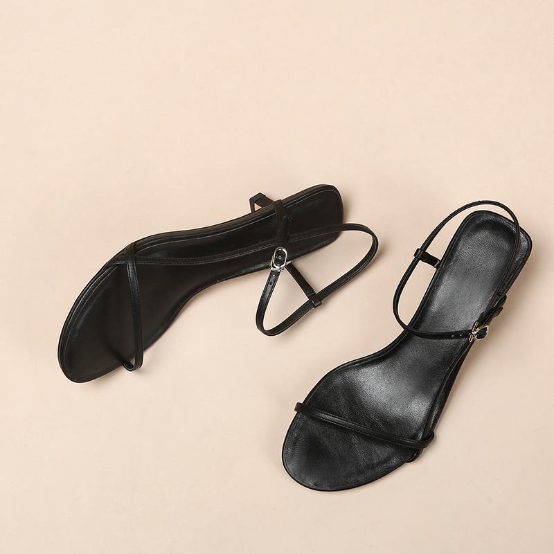 Кожа 3 см Подлинные низкие тонкие каблуки сандалии женщины мода дамы повседневная рабочая обувь черный бежевый желтый зеленый большой размер 41 42 43 5q9q