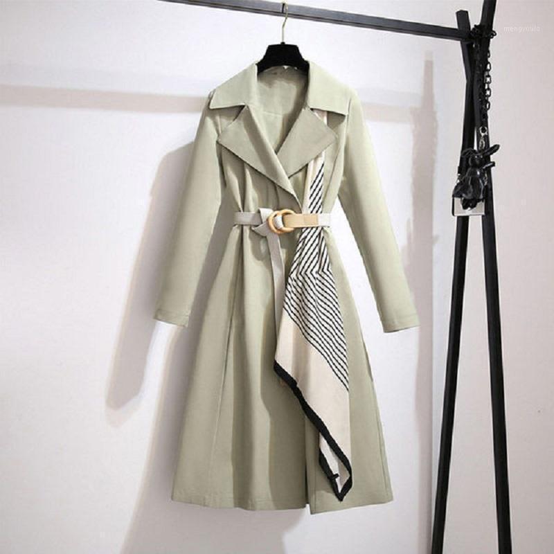 المرأة الخندق معاطف airgracias الشتاء امرأة 2021 تصميم وشاح الحرير الفريد مع حزام شيك معطف عارضة الضوء الأخضر مزاجه معطف 1