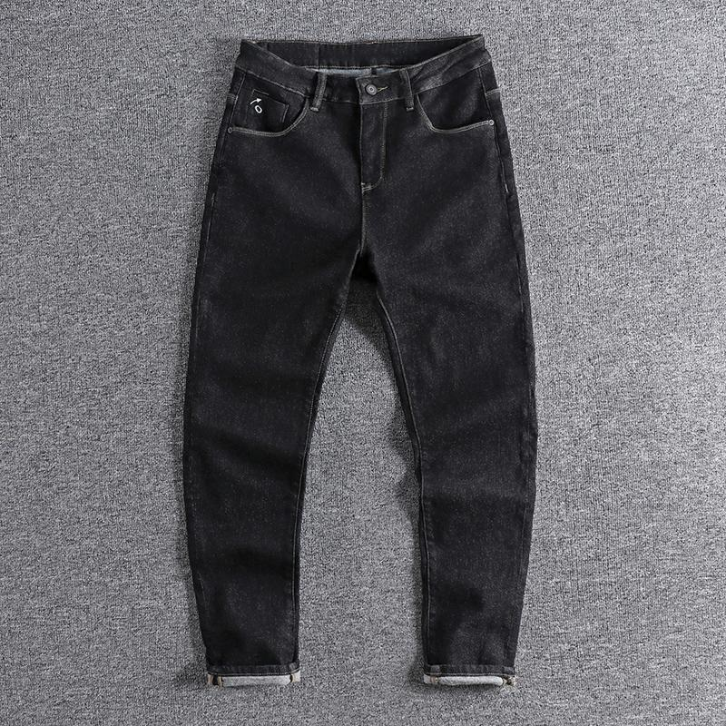 2020 Pocket embroidery trendy black jeans men's autumn and winter thick fleece pants high quality handsome boy wear trouser 0721