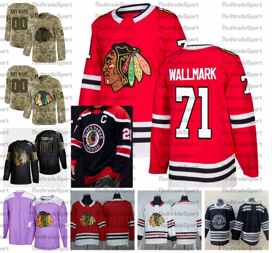 2021 Обратный ретро настроить # 71 Лукас Валмар Chicago Blackhawks Хоккей Джорки Golden Edition Camo Ветераны Дня борьбы с рубашками рака
