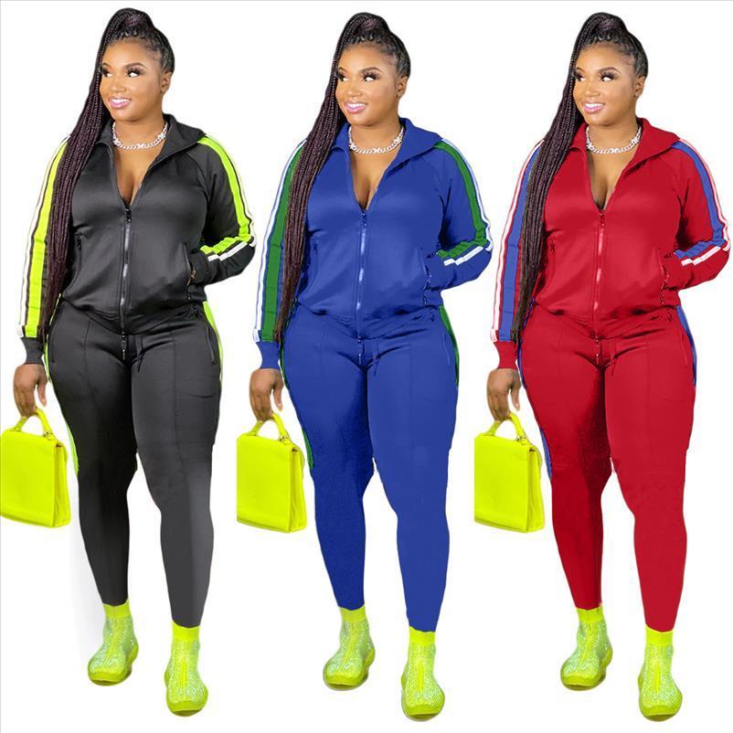 2021 Talla grande S 4xl 2 pieza Set Mujer Ropa de otoño Sweatsuit Joggers Outfit Zip Top Sweetpants Traje al por mayor Dropshipping