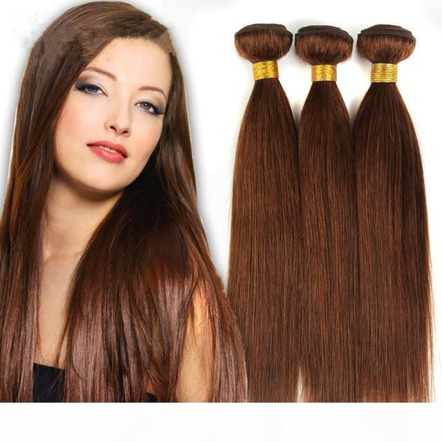 GRAND GRADIE 7A 7A !! # 6 Brun clair Brazilian Virgin Remy Cheveux Silky tisser 3pcs Lot Lot Chocolate Moka Heart Head Hair Bondles