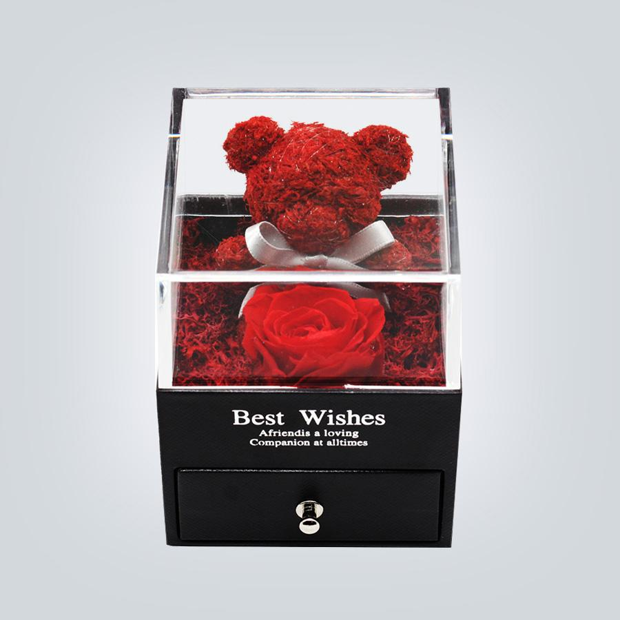 Handmade Preserved Real Rose Jewelry Box Holder Immortal Flowers Forever Blossom Wedding Valentine's Day Gift Set for Women Y1128