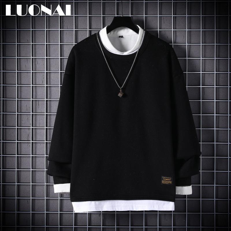 Круглая шейка с длинным рукавом футболка корейский свободный свитер поддельных двух частей рубашки дна Ins модный бренд осенний мужской износ