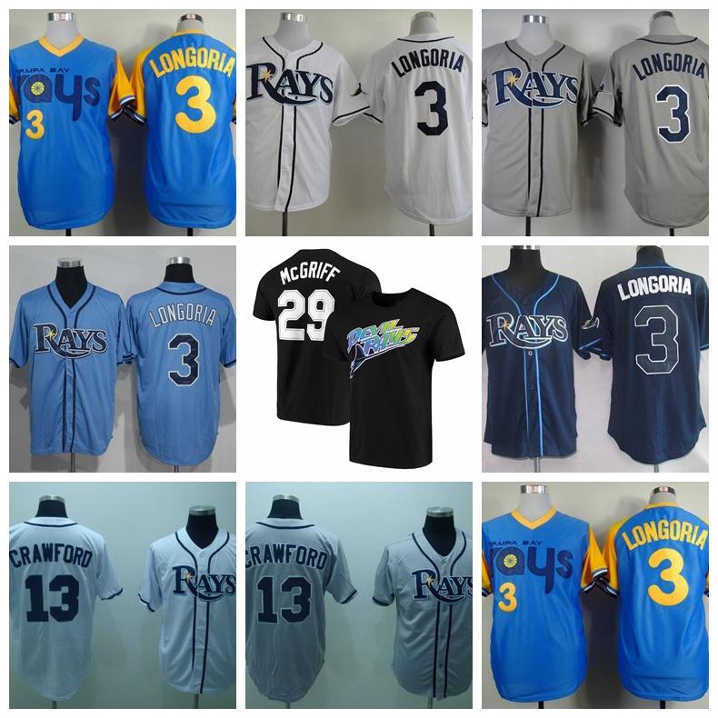 Retro Baseball 3 Evan Longoria Jersey 13 Carl Crawford 29 Fred McGriff 66 Don Zimmer 19 Aubrey Huff 1988 Vintage Blue White Grey Retire