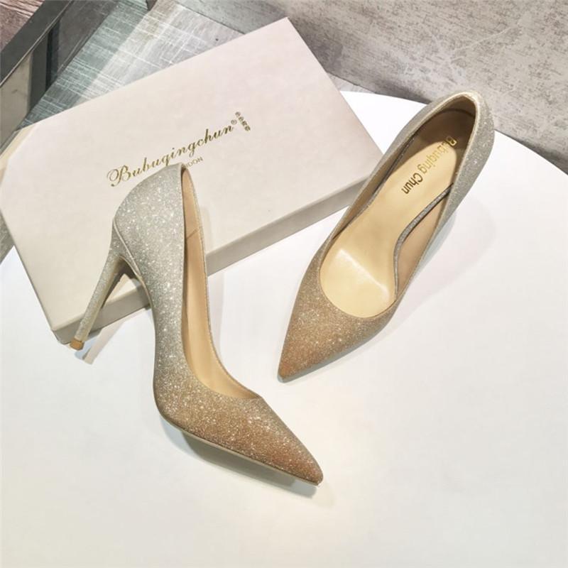 Отправка свободных модных женщин золотые насосы серебряные блеск палец острие на носок на высоких каблуках свадебные туфли вечеринки 10 OXO5