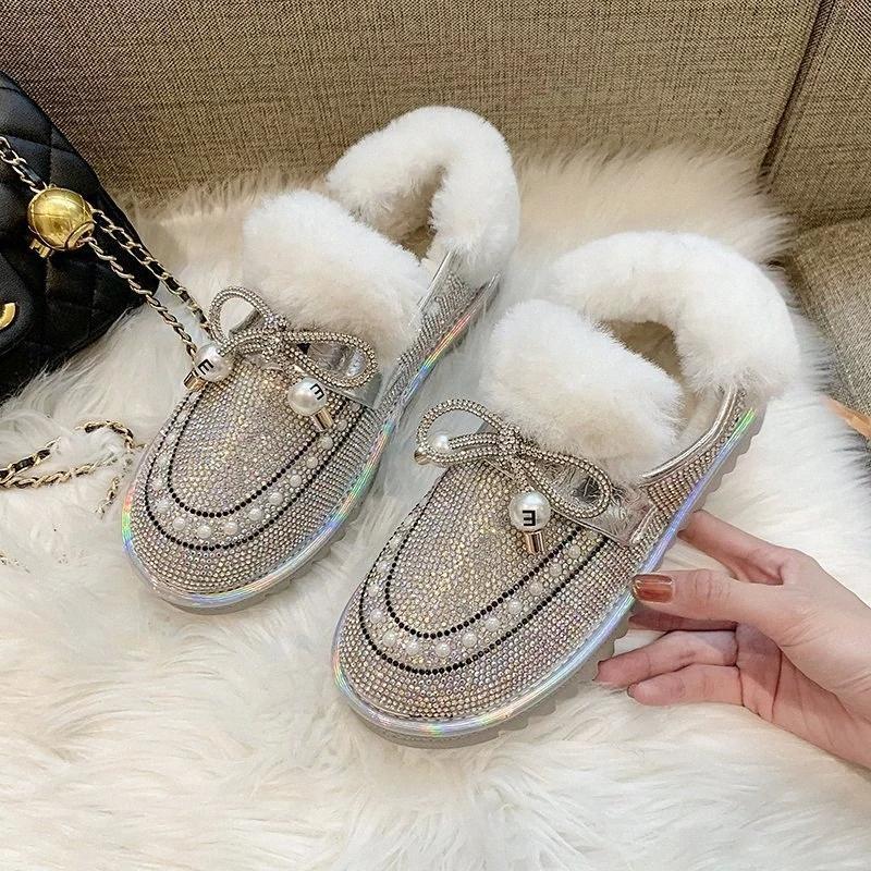 RIMOCY SHINESTONES DE SHINESTONES D'HIVER Bottines d'hiver pour femmes en peluche courte peluche Chaussures de neige Femme Femme Perles Plateforme N ° U62G
