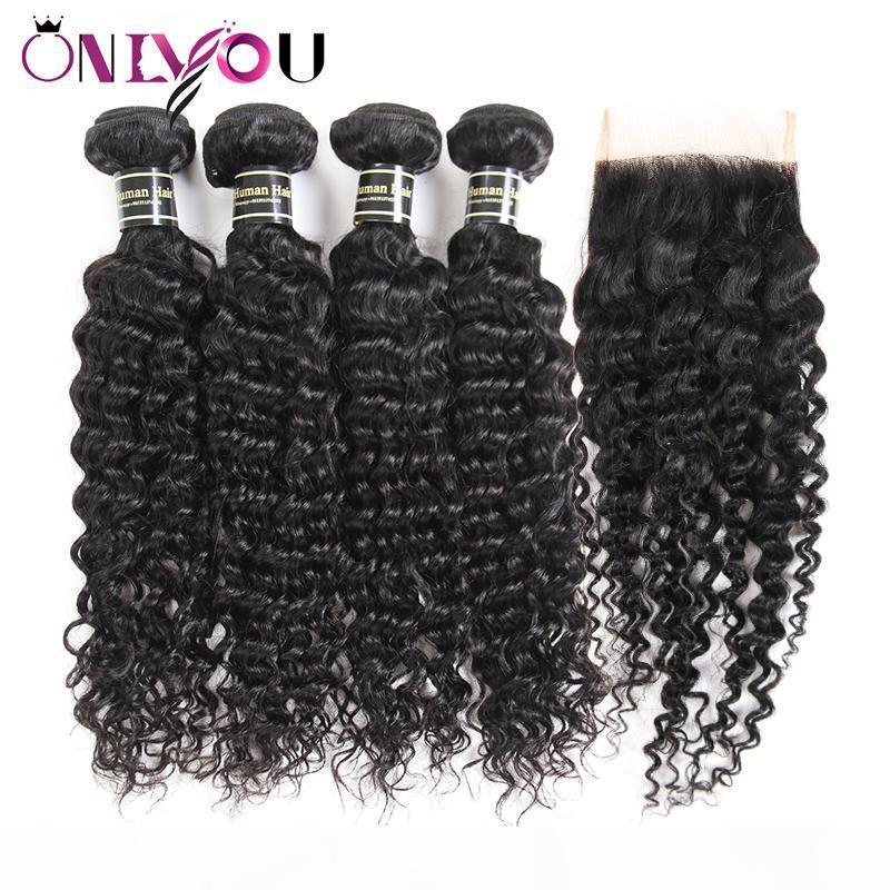 Nueva llegada Malasia Virgen Remy Weave 4 Paquetes de rizos profundos con cierre Malasian Onda profunda Base de seda Cierre Curl Extensiones de cabello