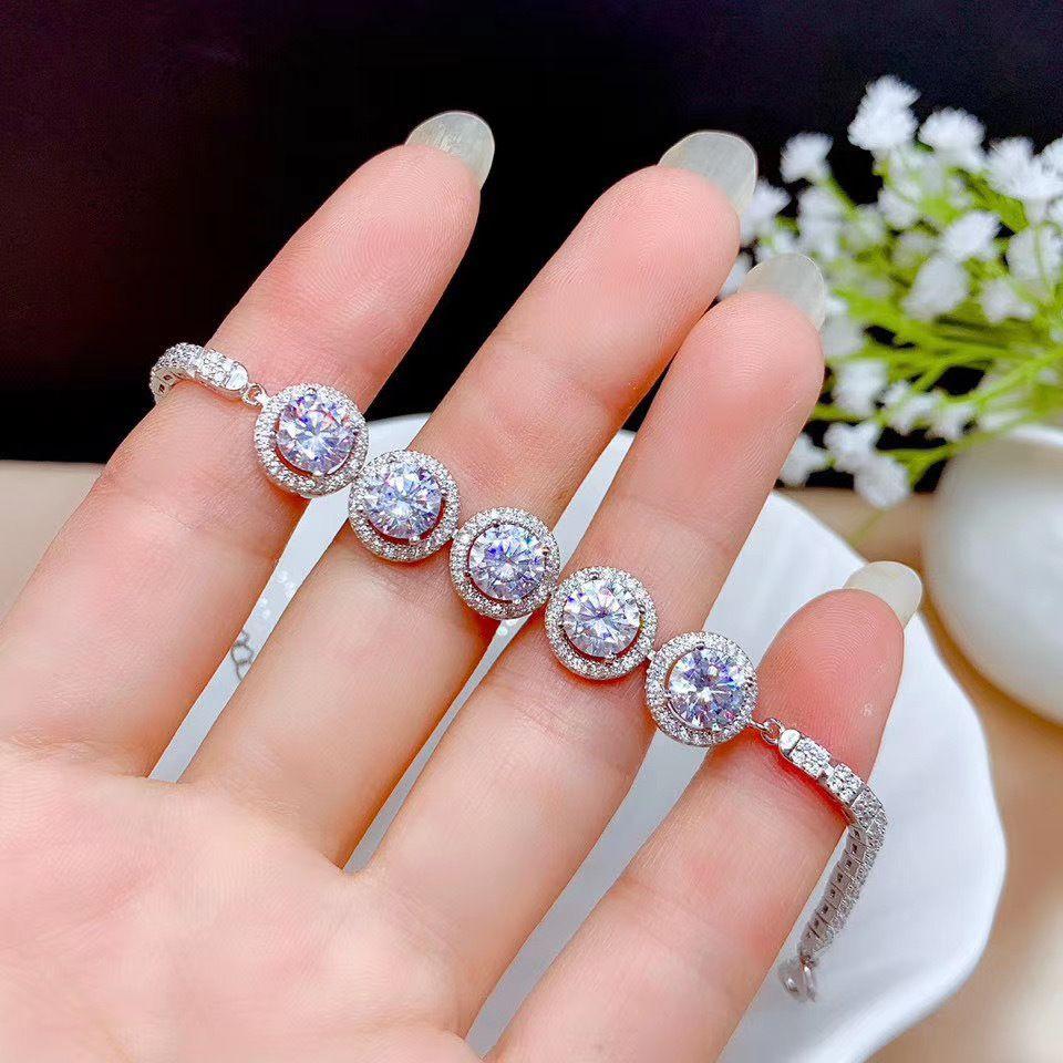 real Moissanite D VVS Women's Bracelet 925 pure silver diamond latest style hot sale promotion Q1218