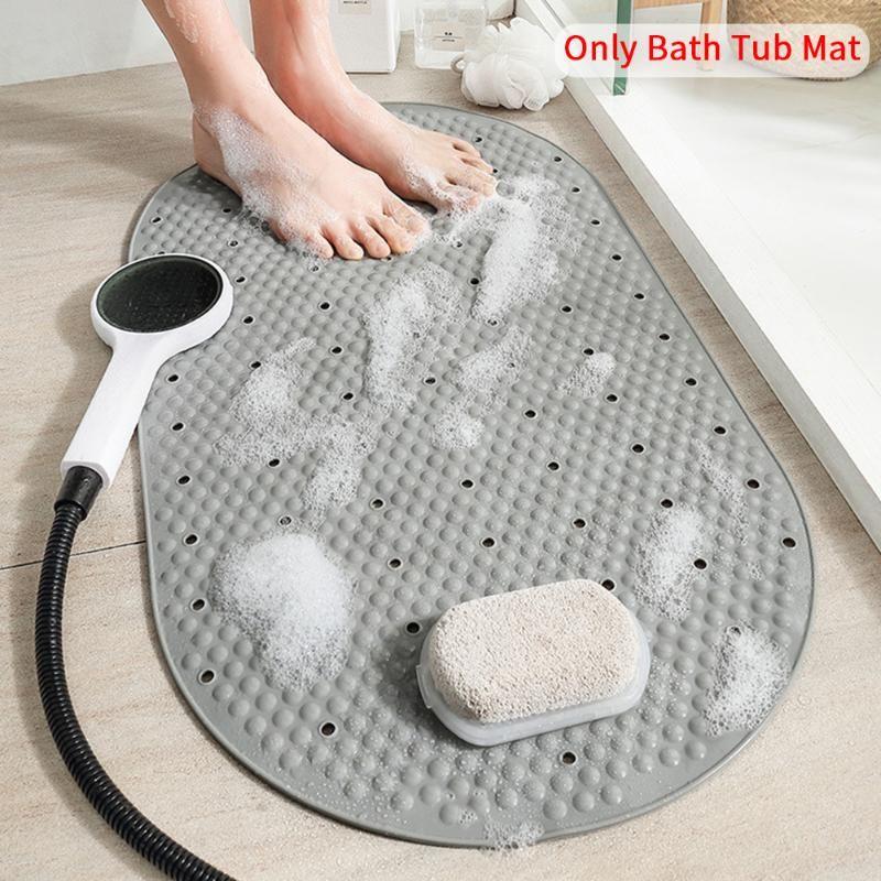 PVC Inicio Bañera Matera Impermeable Moderno Non Slip Hotel Drain Holes Ducha para Baño Succión Masaje Cocina Lavable