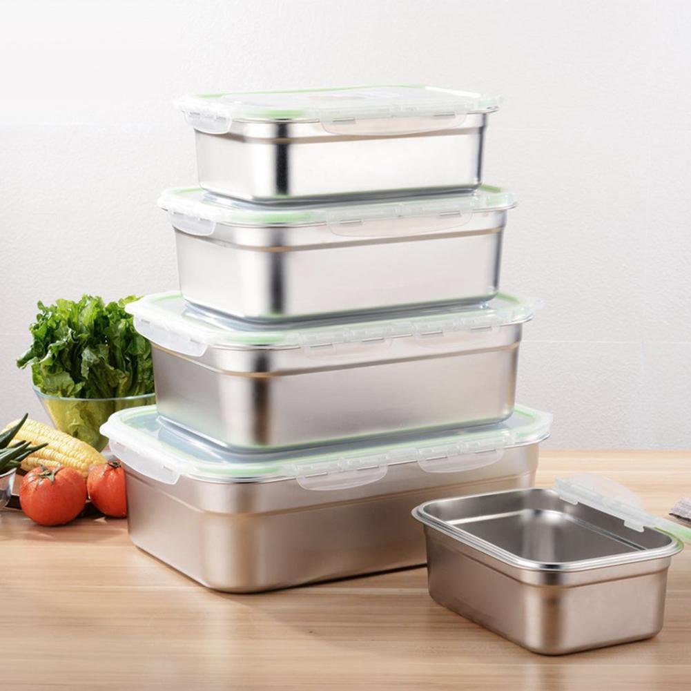 3/4/7/10/12L Lunch Containers Leak Proof Stainless Steel Food Containers Storage Bento Box Rectangle Lunch Box Kitchen Supplies Y0120