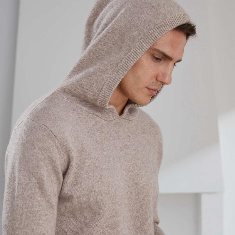 الرجال البلوزات أعلى درجة رجل مع قبعة سميكة الدافئة 100٪ الماعز الكشمير محبوك صداري الذكور 2021 الشتاء البلوفرات طويلة الأكمام