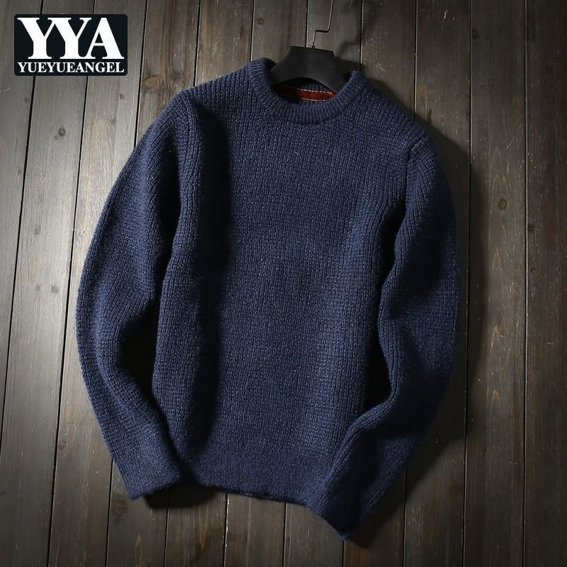 Мужчины шерстяные смеси вязание свитеры осень зима сплошной синий пуловер круглый шейный бизнес повседневный все-матч утолщение мужских топов