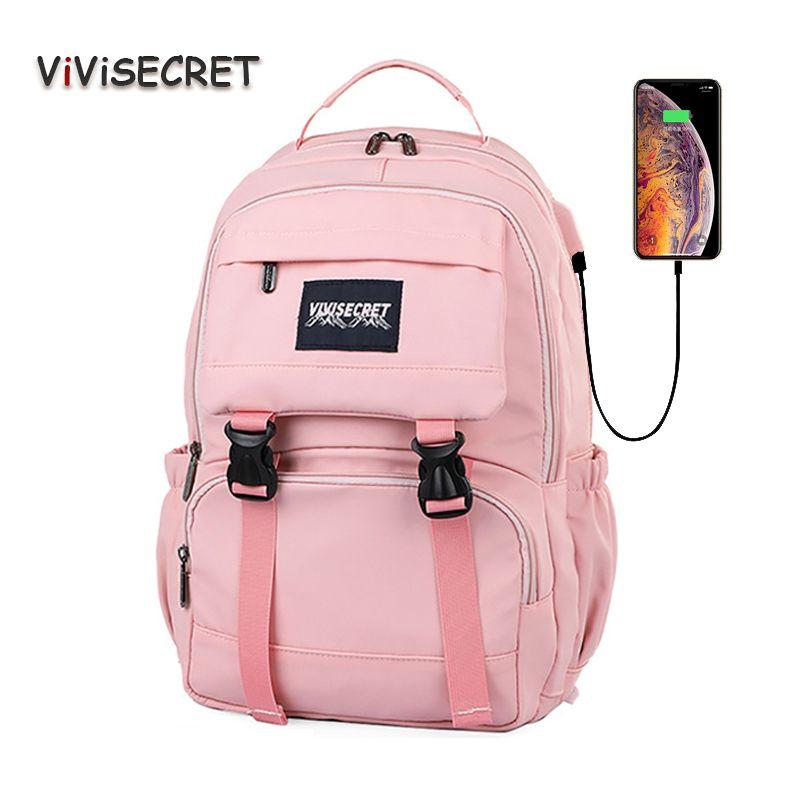 Новый ноутбук Женщины Рюкзак Внешние USB Charge Компьютер Bagpacks Anti-Theft водонепроницаемый мешок школы для девочек-подростков, черный
